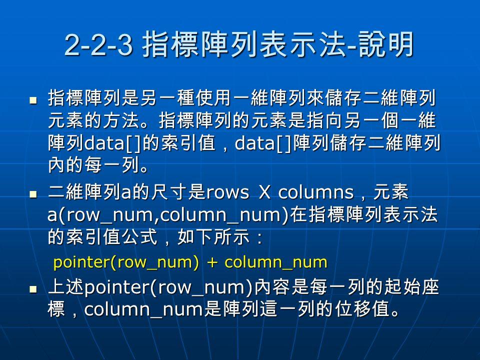 2-2-3 指標陣列表示法-說明 指標陣列是另一種使用一維陣列來儲存二維陣列元素的方法。指標陣列的元素是指向另一個一維陣列data[]的索引值,data[]陣列儲存二維陣列內的每一列。